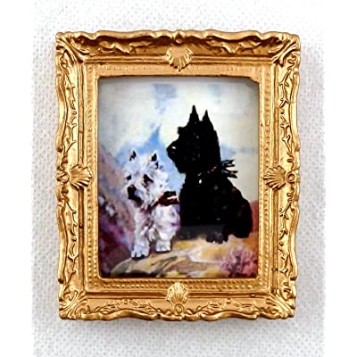 Melody Jane Dolls Houses House Miniature West Highland Terriors Picture Painting Dogs in Gold Frame: Toys & Games
