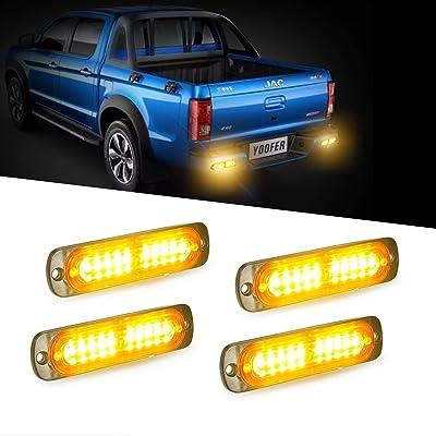 4pcs 10-LED Super Bright Emergency Hazard Warning Light, Ultra Slim Surface Mount Grille Strobe Light, Turning Light 12-24V for Truck Car Motorcycle (Amber): Automotive