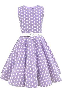 7766849296f Amazon.com  Girls 50s Audrey Hepburn Flower Vintage Swing Rockabilly ...
