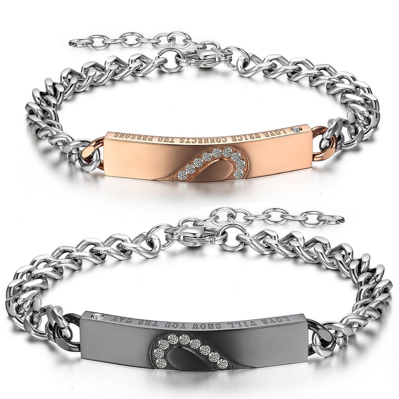 Molto Jewelrywe Gioielli 2pcs Bracciale da Uomo Donna, Amore Amanti San  RW11