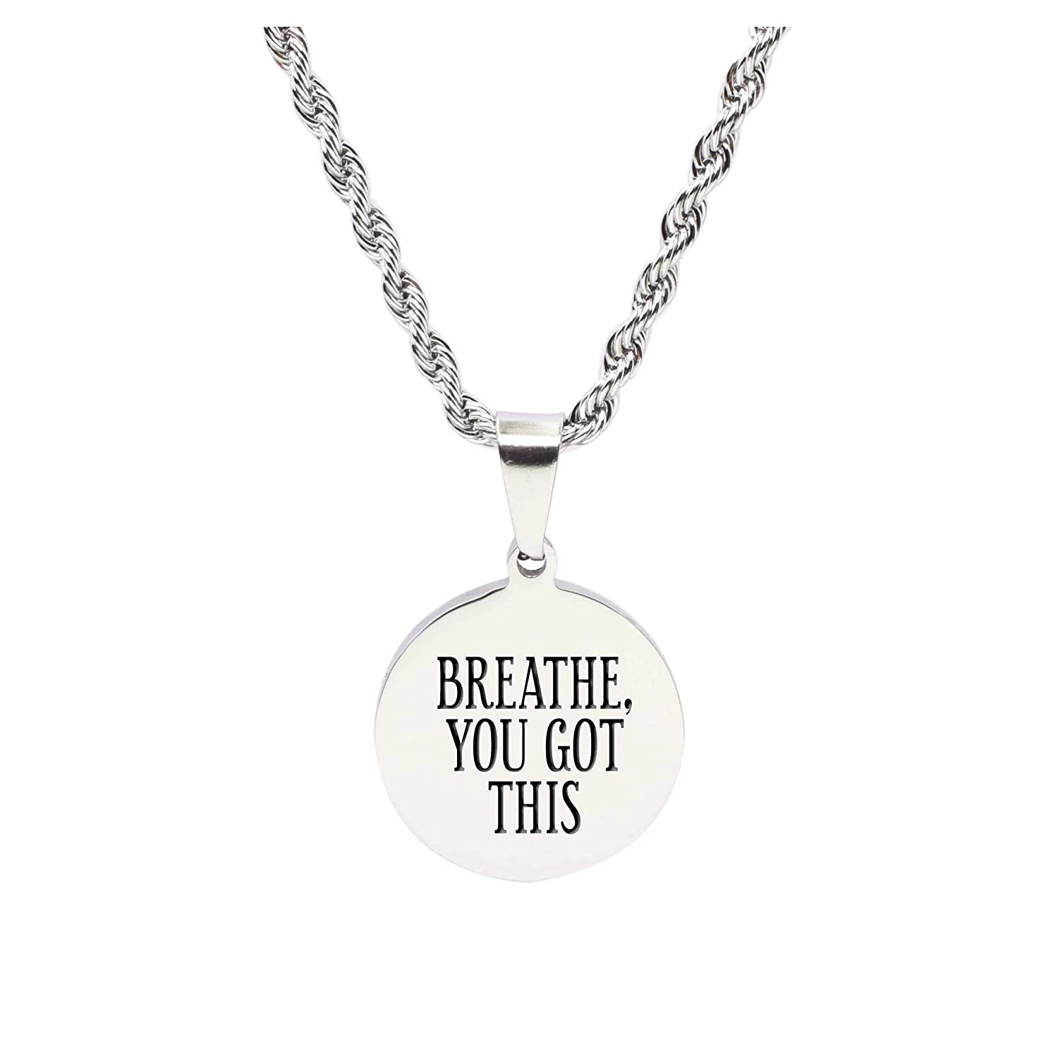 Pink Box Stainless Steel Round Tag Inspirational Necklace