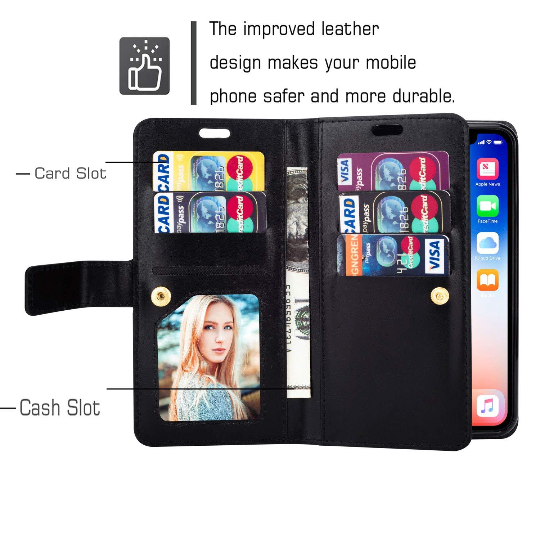 9 Karten Slot Jinghuash Kompatibel mit Samsung Galaxy S10 H/ülle PU Leder Flip Case Brieftasche Ledertasche Tasche Klapph/ülle Multifunktionaler mit Rei/ßverschluss Lederh/ülle HandyH/ülle-Braun