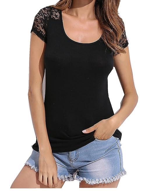 ZANZEA Mujeres Damas Oficina Elegante Blusa Camiseta Casual Abotonada Cuello Abotonado Mangas Cortas (EU 44