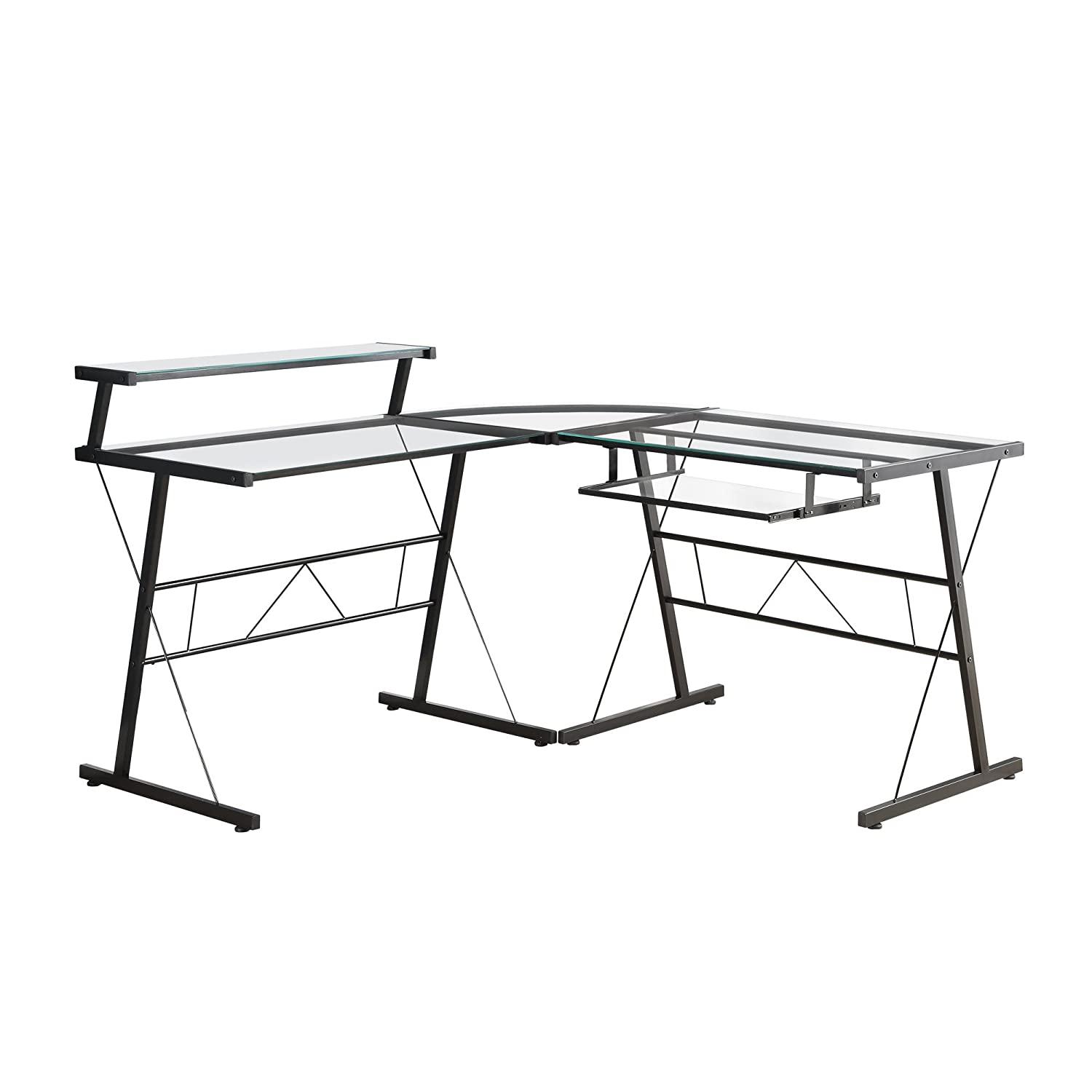Monarch Specialties L-Shaped Computer Desk with Tempered Glass, Black Metal I 7172
