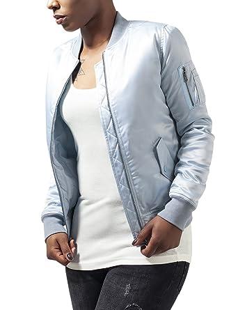 Urban Classics Damen Jacke Ladies Satin Bomber Jacket, Blau (Babyblue 790),  34 e1c4b0bbd4
