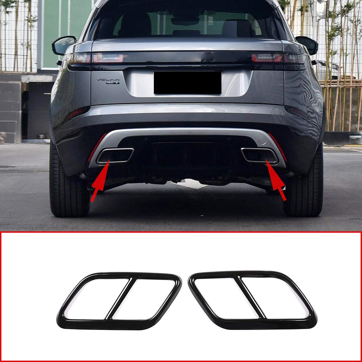 CHEYA Stainless Steel Pipe Throat Exhaust Outputs Tail Frame Trim Cover 2Pcs For Land Rover Range Rover Velar 2017 2018 2019 Auto Accessories