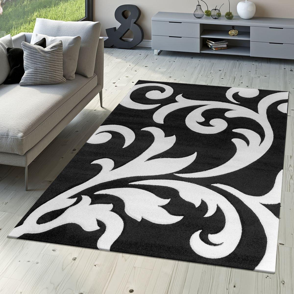 T&T Design Designer Teppich Wohnzimmerteppich Levante Modern mit Floral Muster Weiß Schwarz, Größe 200x290 cm