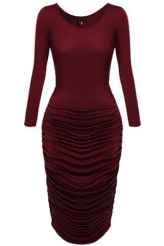 Zeagoo Women's Sexy Long Sleeve Ruched bodycon Party Club Midi Dress