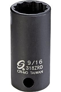 Sunex 318MZRD 3//8 Drive 18mm 12-Point Semi-Deep Impact Socket