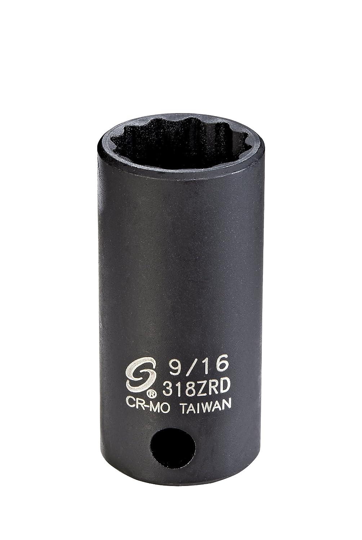 Sunex 318ZRD 3//8-Inch Drive 9//16-Inch 12-Point Semi-Deep Impact Socket