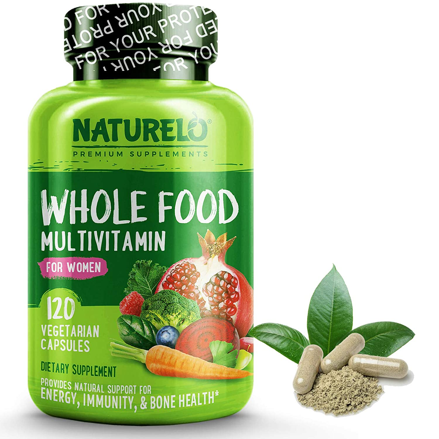 NATURELO Whole Food Multivitamin for Women – Natural Vitamins, Minerals, Raw Organic Extracts – Best Supplement for Energy and Heart Health – Vegan – Non GMO – 120 Capsules