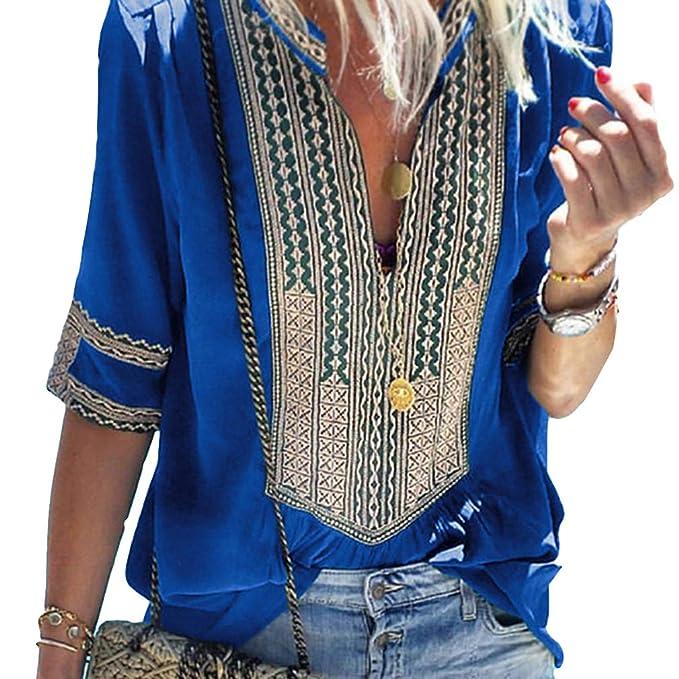Moda Camisa Floral para Mujer Vintage Media Manga Cuello en V Blusa Casual Loose Camiseta Túnica