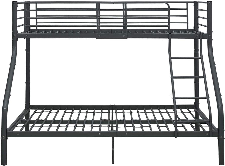 Lasamot Estructura de Estructura de Metal Negro Estructura de litera, práctico Dormitorio de Estilo Moderno Estructura de litera-Cama Superior 90x200 cm y Cama Inferior 140x200 cm