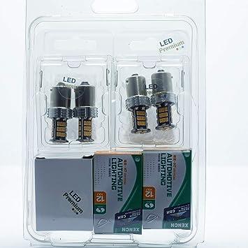 KIT 4x BOMBILLAS LED BAU15S R10W RY10W + 2X BOMBILLAS H7 HALOGENAS EFECTO XENON + 1x