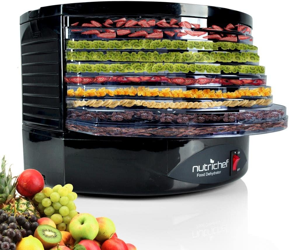 NutriChef Electric Food Dehydrator Machine - Professional Multi-Tier Hanging Food Preserver, Meat or Beef Jerky Maker, Fruit or Vegetable Dryer with 5 Stackable Trays, High-Heat Circulation