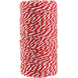 Red and White Twine,100M/328 Feet Cotton Bakers Twine,Christmas String,Heavy Duty Packing String for DIY Crafts and Gift Wrapping