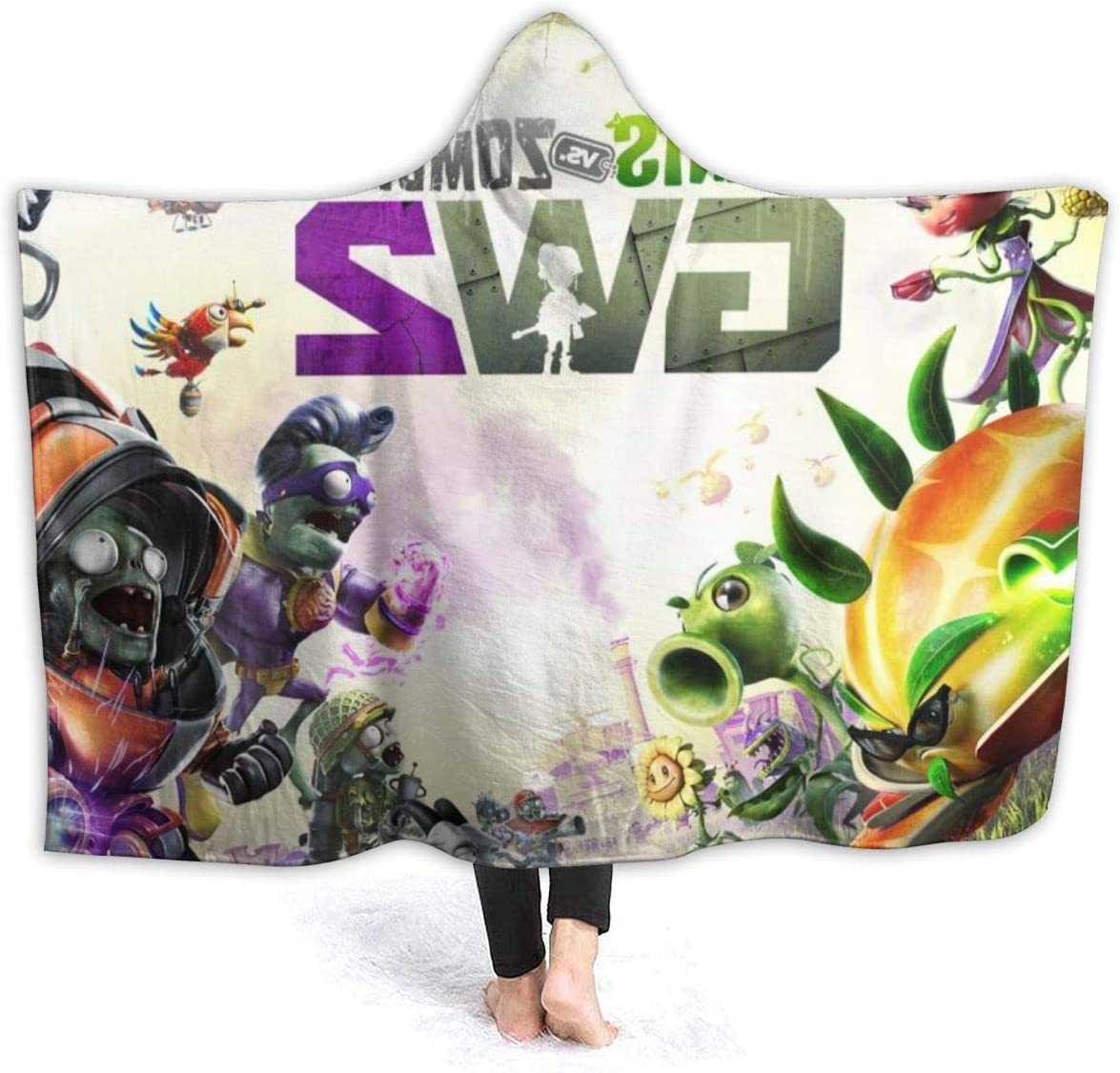 Winter Hooded Blankets for Kids Youth, Game PVZ Garden Warfare 2 Fan Art Wearable Blankets for New Year, Bed, Park, Anti-Dirty Soft Throw Blanket