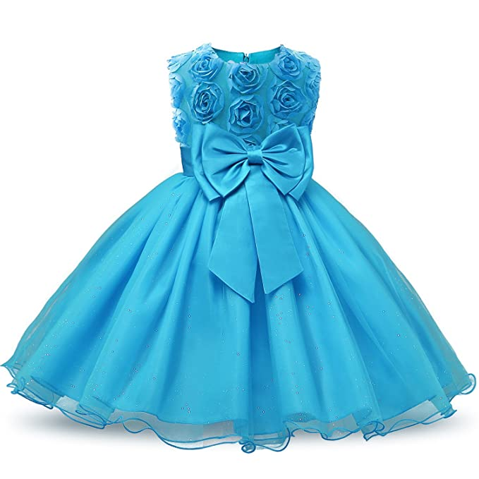 d3590f5350f NNJXD Girl Sleeveless Lace 3D Flower Tutu Holiday Princess Dresses Size  1-1.5 Years Blue