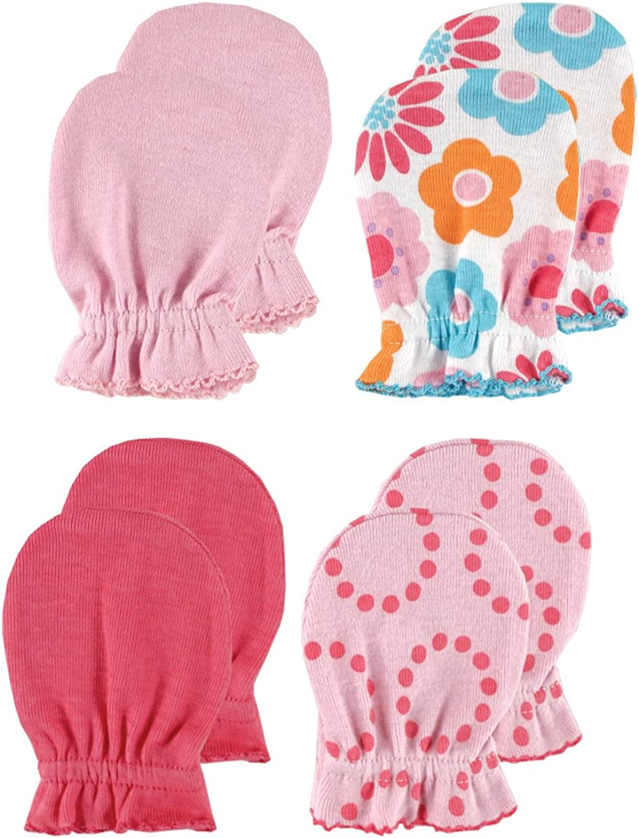 Luvable Friends Baby Girls Cotton Scratch Mittens