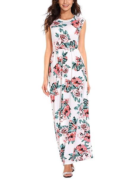 Vestido de noche Isassy con estampado floral, vintage, bohemio, largo, para fiesta