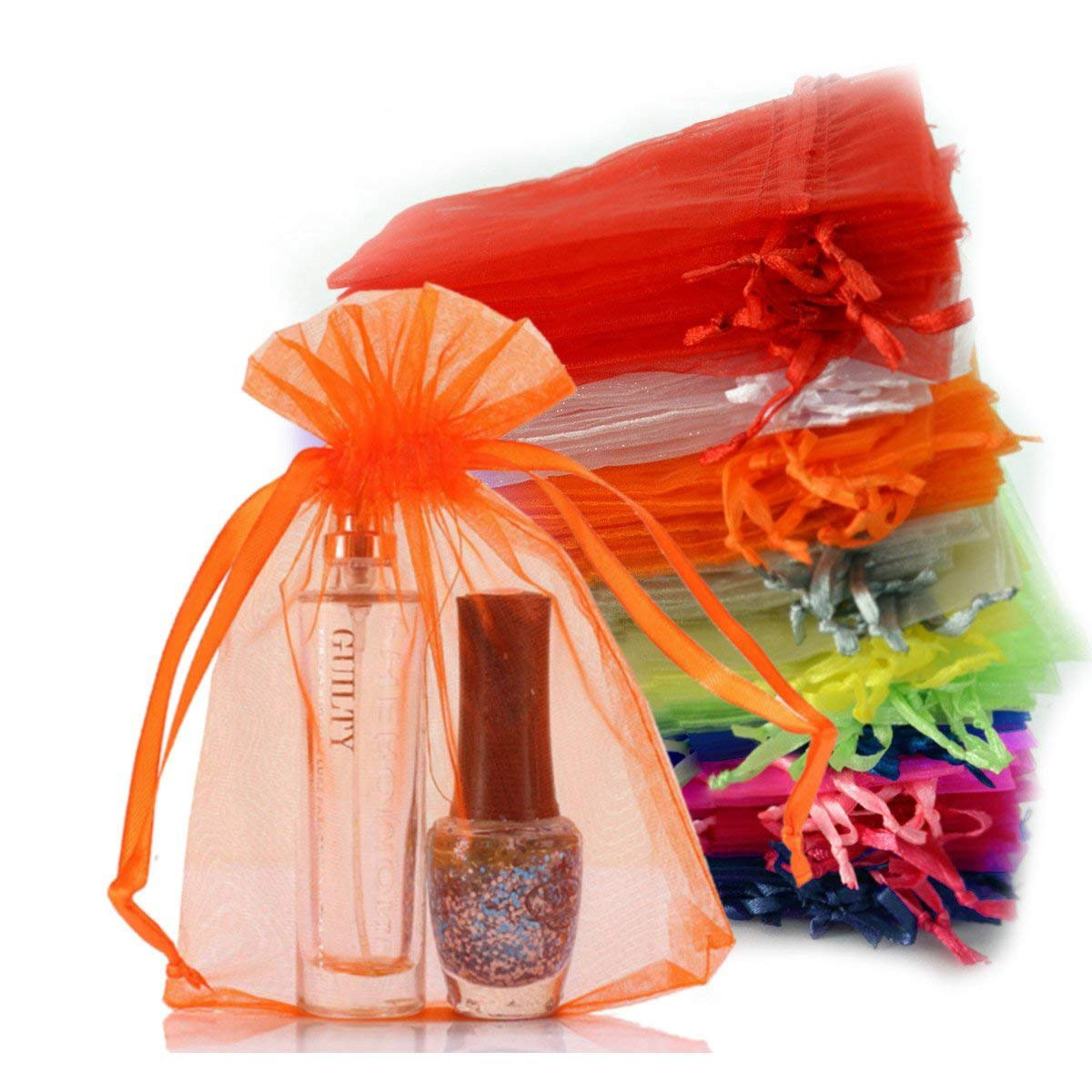 Chasgo 100 Pcs Drawstring Organza Gift Bags 4 x 6 Pouch Wedding Party Favor Gift Candy Jewelry Wrapping Bags