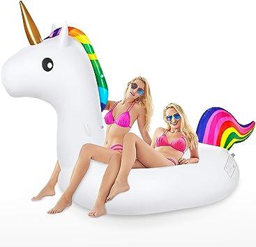 Jojoin Flotador de Piscina Unicornio, Colchoneta Hinchable Unicornio, Flotador Gigante Unicornio en Piscina Playa, Juguete Colchonetas de Verano para Adultos & niños (240 x 110 x150cm) : Amazon.es: Juguetes y juegos