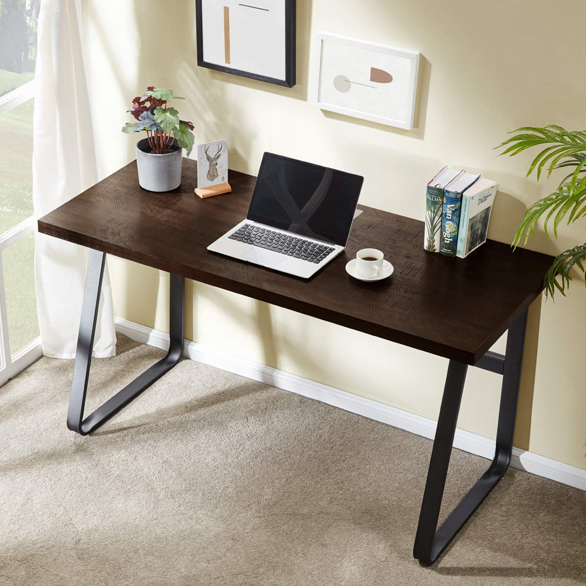 DYH Vintage Computer Desk, Wood and Metal Writing Desk, PC Laptop Home Office Study Table, Espresso 55 inch by dyh
