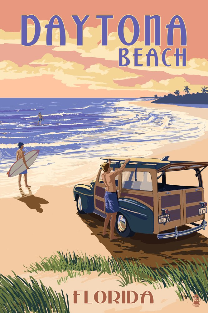 デイトナビーチ、フロリダ州 – Woody on the beach 36 x 54 Giclee Print LANT-44809-36x54 36 x 54 Giclee Print  B017E9VA4O