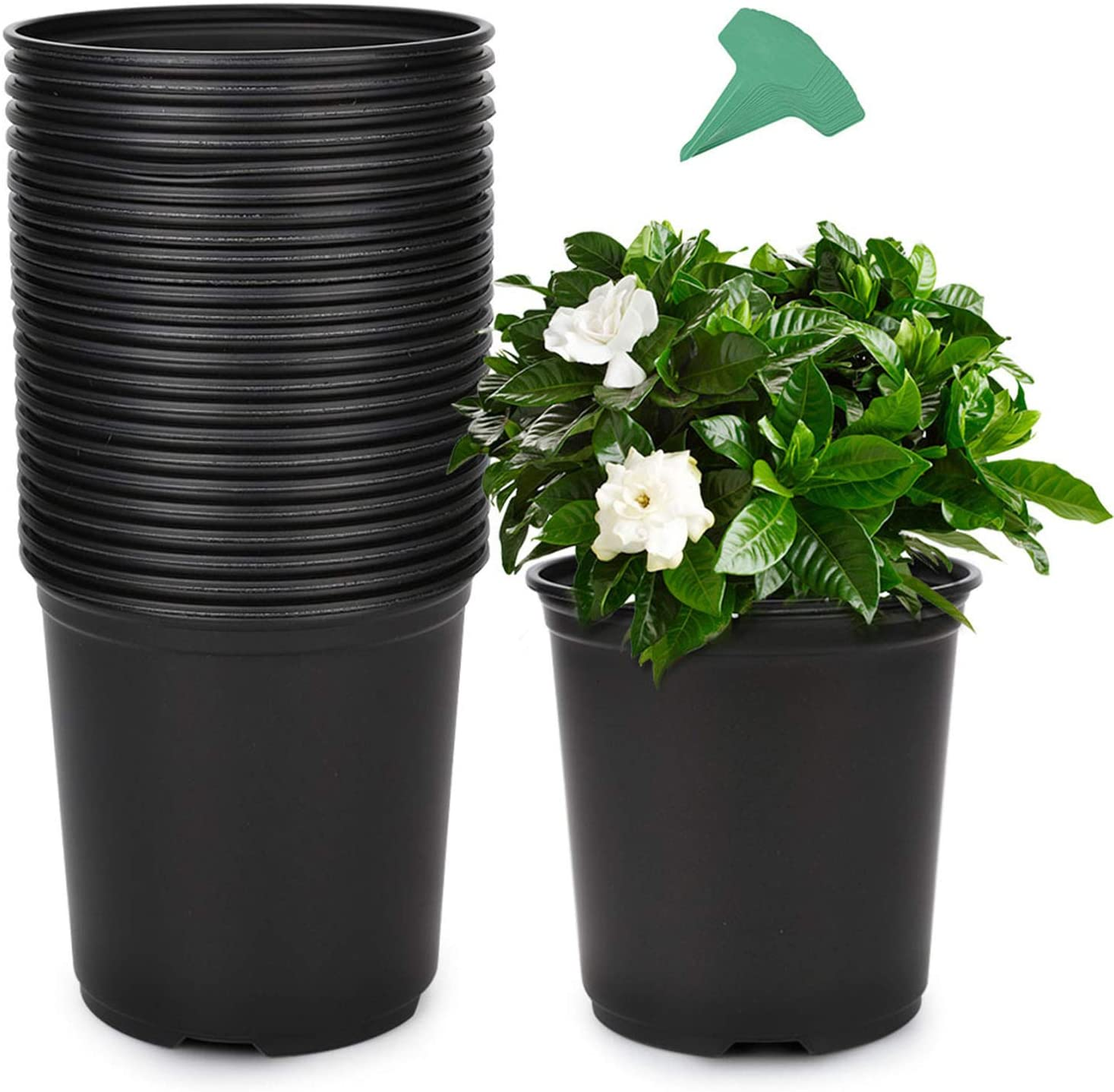 GROWNEER 48 Packs 0.7 Gallon Flexible Nursery Pot Flower Pots with 15 Pcs Plant Labels, Plastic Plant Container Perfect for Indoor Outdoor Plants, Seedlings, Vegetables, Succulents and Cuttings 2.5Qt