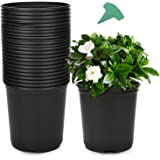 GROWNEER 24 Packs 0.7 Gallon Flexible Nursery Pot Flower Pots with 15 Pcs Plant Labels, Plastic Plant Container Perfect for I