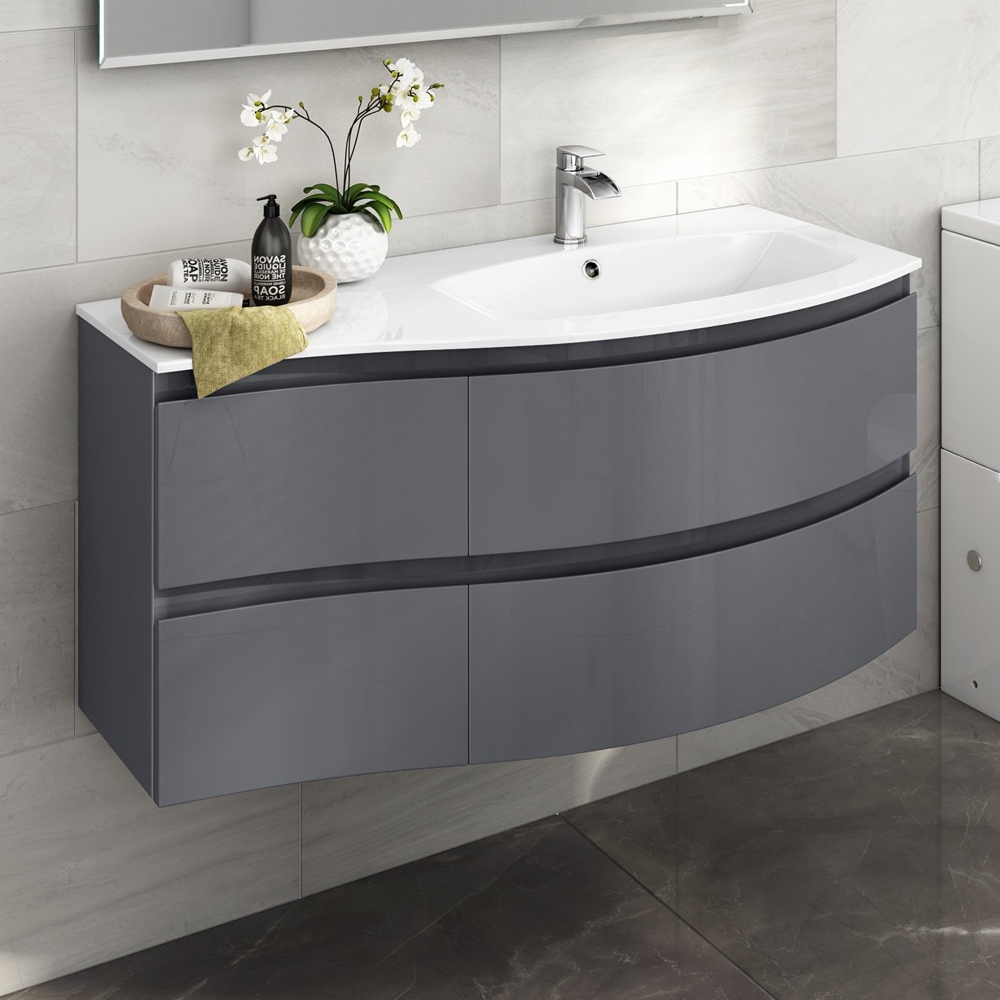 Designer Gloss Grey Curved Vanity Unit Wall Hung Right Hand Basin