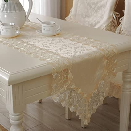 Gentil Hughapy High Grade Table Runner Embroidery Lace Table Flag, Cream Colored  Table Cloth