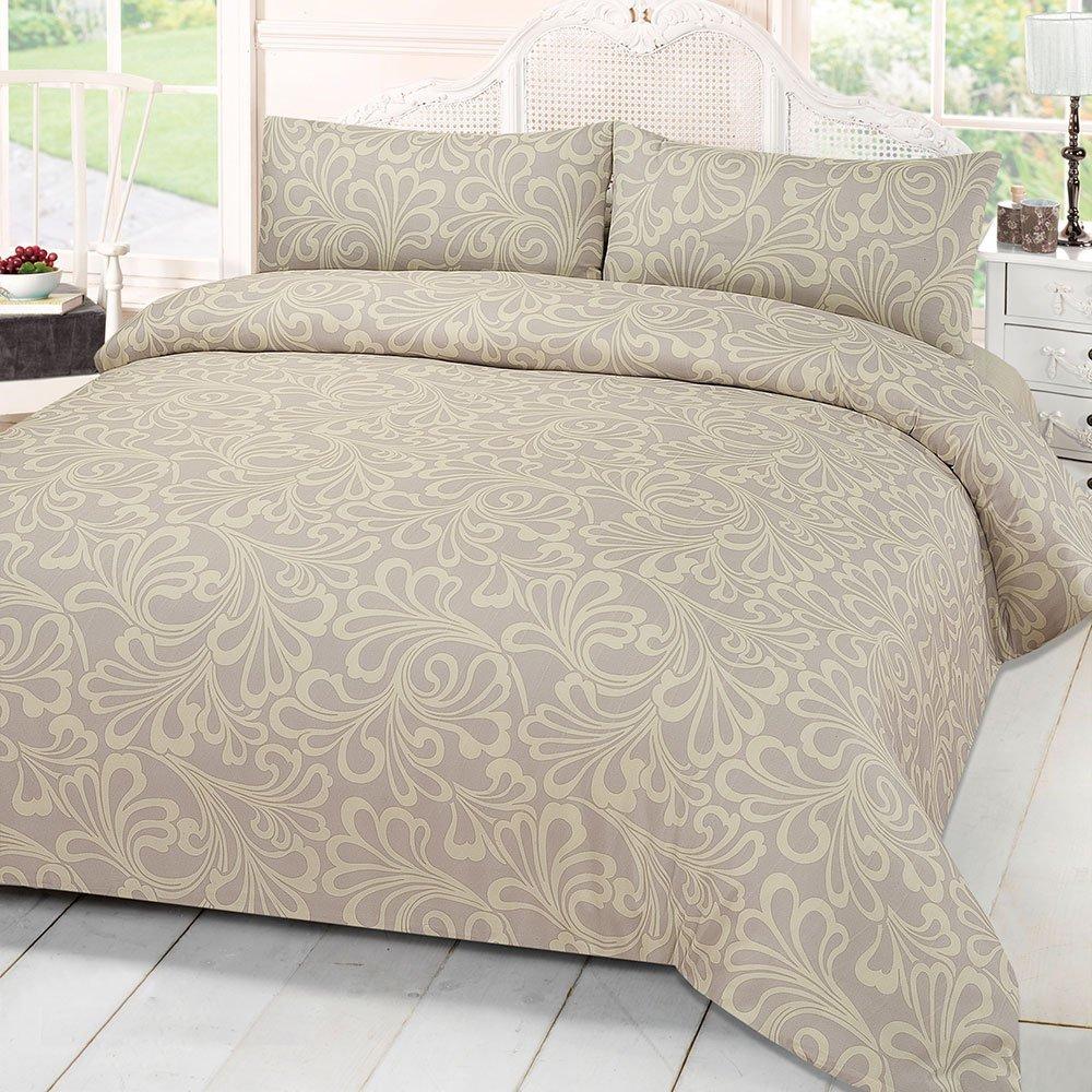 Damask Cream Hot Floral Print King Size Duvet Bedding Set