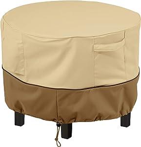 Classic Accessories Veranda Water-Resistant 22 Inch Round Patio Ottoman/Coffee Table Cover