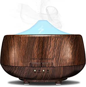 MIGICSHOW Aroma Essential Oil Diffuser, Wood Grain 250ml Ultrasonic Cool Mist Humidifier with 7 Color LED for Office Home Bedroom Baby Room Study Yoga Spa-Waterless Auto Shut-Off