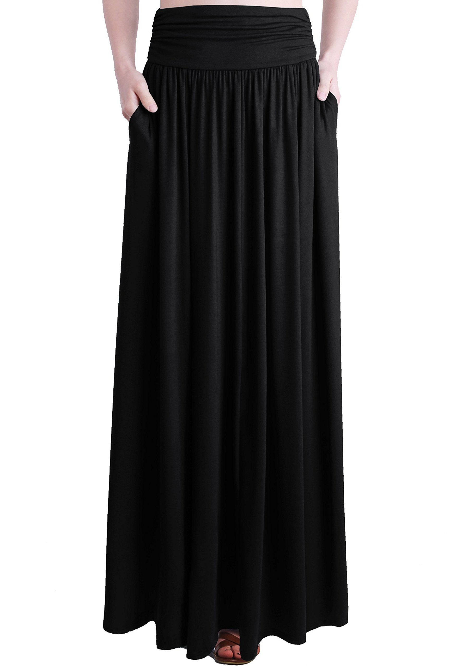 TRENDY UNITED Women's Rayon Spandex High Waist Shirring Maxi Skirt With Pockets (Blk, Small)