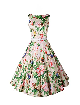 Babyonline Vintage 1950s Audrey Hepburn Style Floral Rockabilly Picnic Party Prom Dress