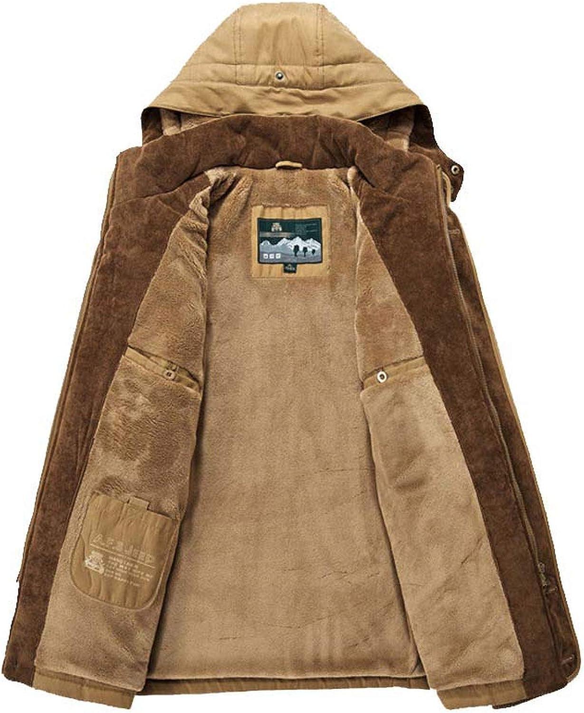 Men Jacket Warm Parka Thicken Fleece Padded Coat Snow Windbreaker Male Overcoat,Khaki,XL