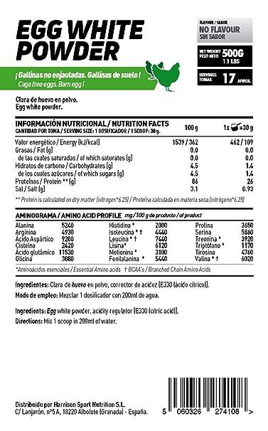 HSN RAW Clara de Huevo en Polvo 100% Proteína Natural sin Grasas, sin Colesterol y sin Sabor - 500 gr: Amazon.es: Salud y cuidado personal