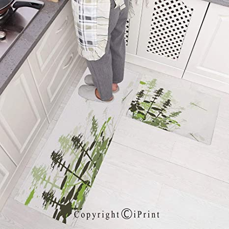 2 Piece Non Slip Kitchen Mat Kitchen Rugs And Runner Set 15 X47 15 X23 Nature Plants Grass With Wildflowers With Paintbrush Effects Print Decorative Suitable For Dining Room Kitchen Amazon Co Uk Kitchen Home