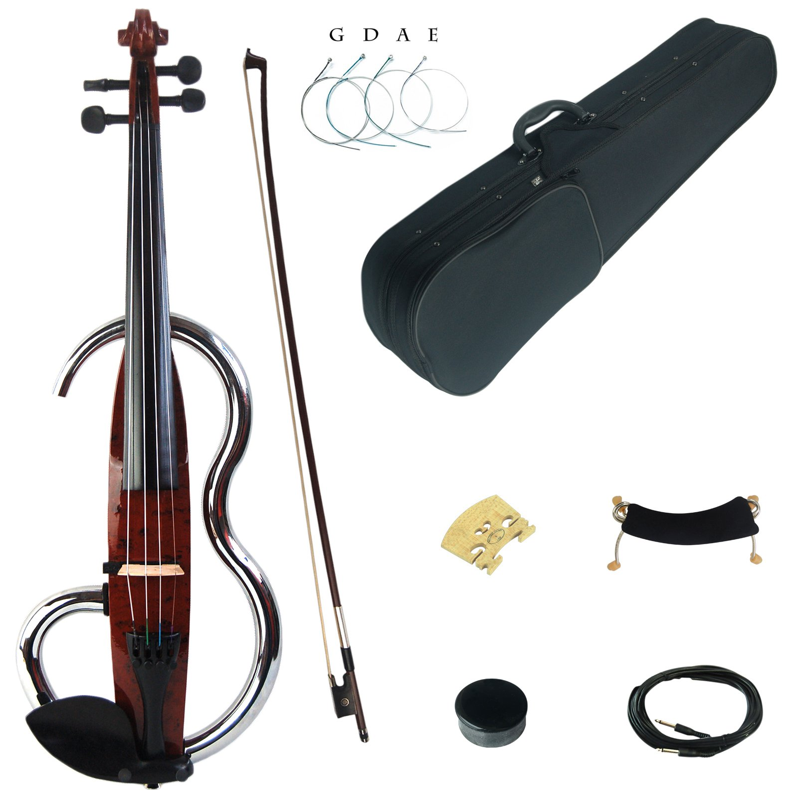 Kinglos 4/4 Brown Colored Solid Wood Advanced Metal Electric/Silent Violin Kit with Ebony Fittings Full Size (JSDS1601) by Kinglos