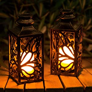 2 Pack Solar Lanterns Outdoor, OxyLED LED Solar Garden Lights, Hanging Butterfly Lanterns Solar Powered with Handle Waterproof, Flickering Flameless Candle Mission Lights for Table Patio Yard Pathway