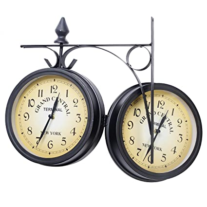 Reloj De Estación de Tren Reloj De Pared De Dos caras Salón ...