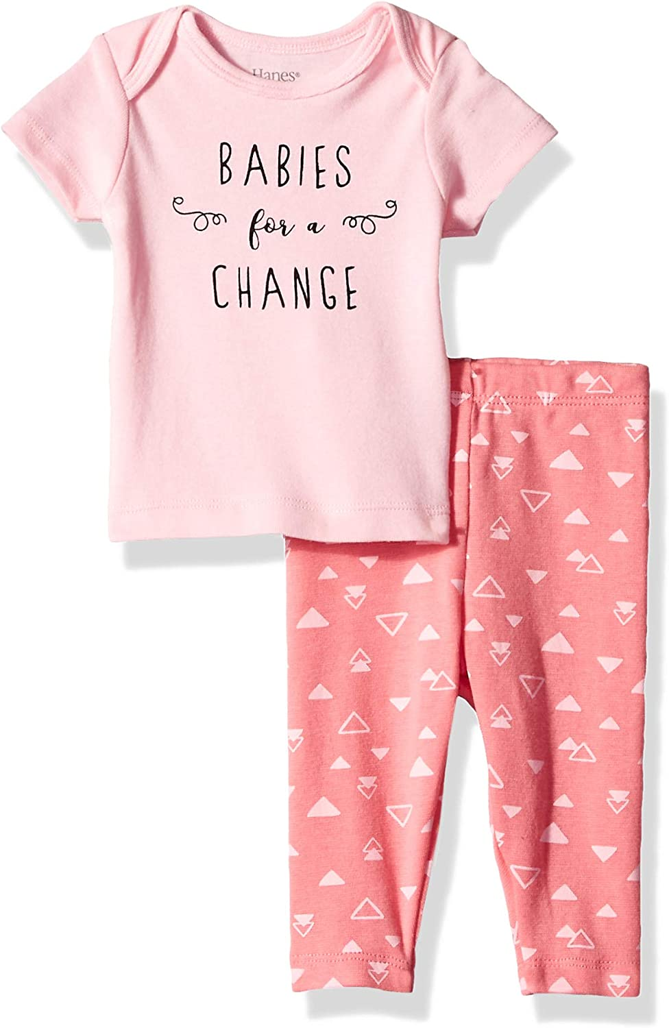 Pant with Short Sleeve Crew Tee Hanes Ultimate Baby Flexy 2 Piece Set
