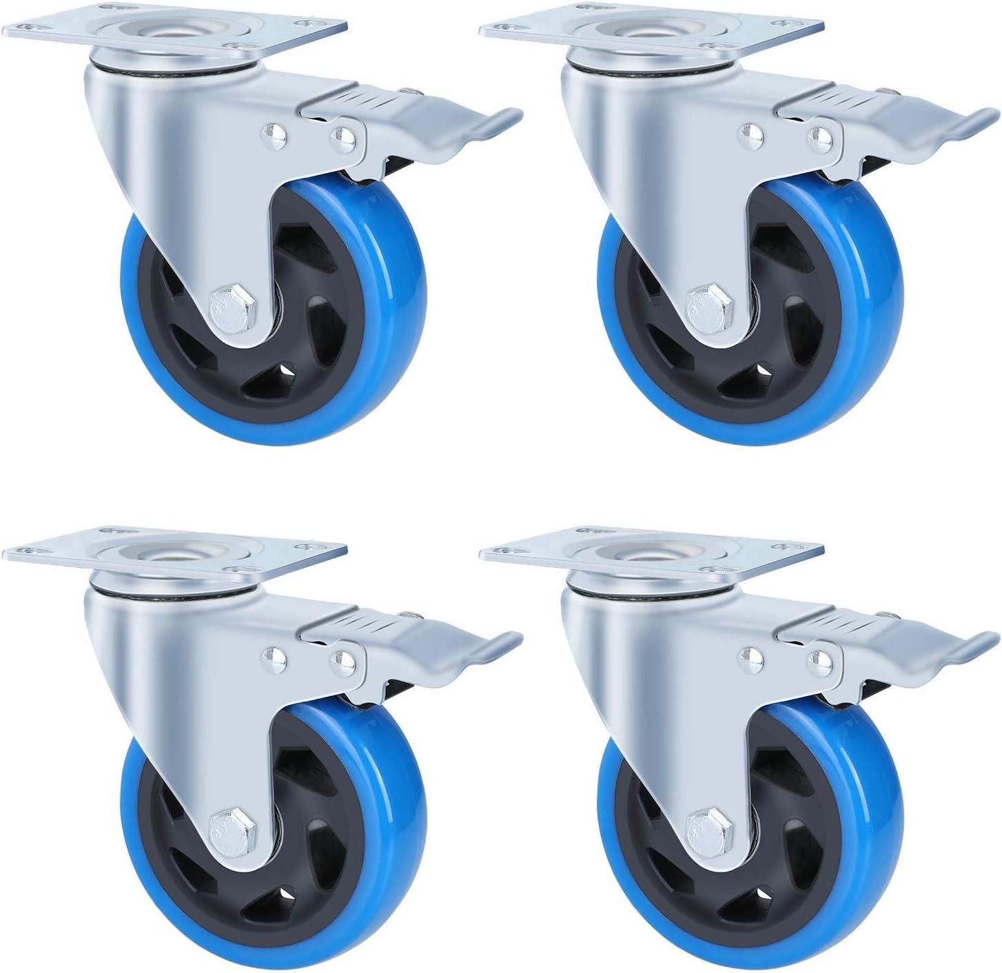 FIXKIT Ruedas de transporte de 4 piezas Ruedas giratorias de 100 mm con poliuretano de 4 frenos, capacidad de carga 450 kg
