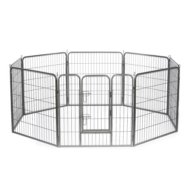 dibea Parc/Enclos avec 1 Porte pour Chien/Chiot/Animaux de Compagnie Différentes Hauteurs 70 cm 4 Pièces FG00543
