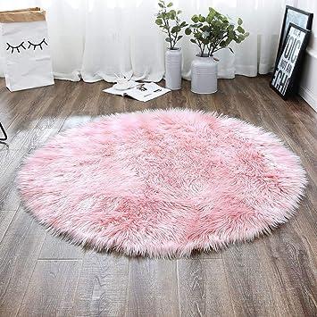 Liyingkeji Deluxe Doux Moderne Faux Peau De Mouton Shag Zone Tapis Enfants Jouer Tapis Pour Salon Et Chambre Canape 60 X 60 Cm Rose