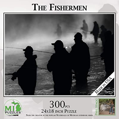 """The Fishermen - 300 Piece MI Puzzles Jigsaw Puzzle - 24"""" x 18"""" Interlocking - Made in USA: Toys & Games"""