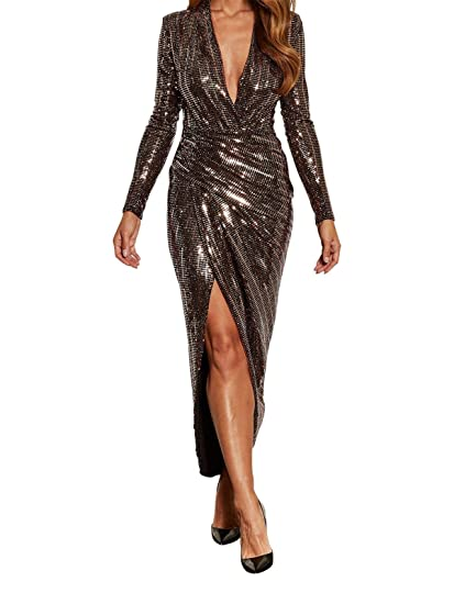 bc487f6fd308 John Zack Plunge Neckline Wrapover Evening Dress Gold (10): Amazon ...