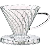 Harold Import 43783 Pour-Over Coffee Filter Cone, Borosilicate, Filter, Brews 2 to 6-Cups, Glass, Number 2-Size